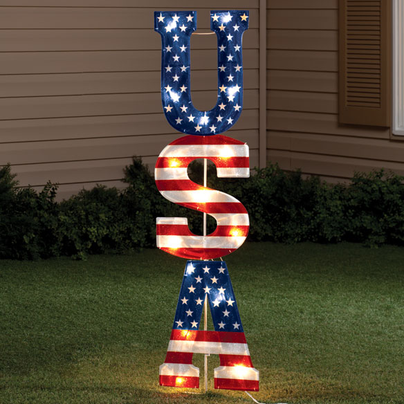 Lighted USA Stake
