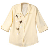View All Sweatshirts & T-Shirts - Sequined Bee 3/4 Sleeve Pinstripe Shirt