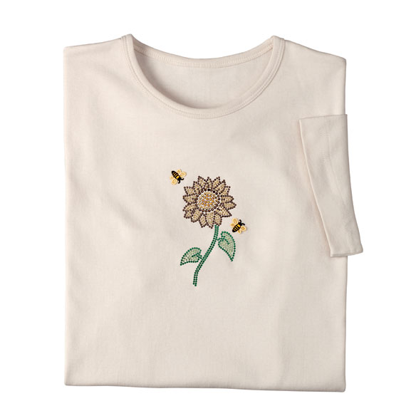 Jeweled Sunflower and Bee Shirt