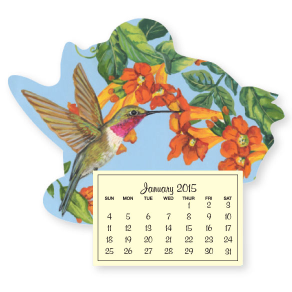 Floral Hummingbird Mini Magnetic Calender