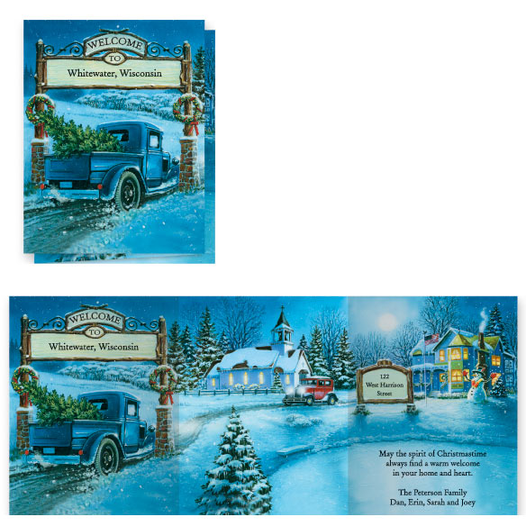 Nostalgic Village Christmas Card Set of 20