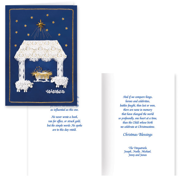 Satin Nativity Christian Christmas Card Set of 20