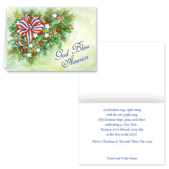 Patriotic Greenery Christmas Card - Set of 20 - View 1