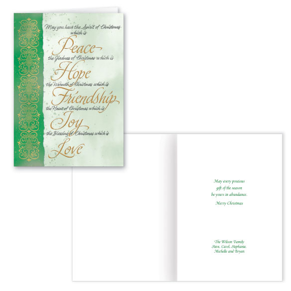 Peace Hope Love Christmas Card Set of 20