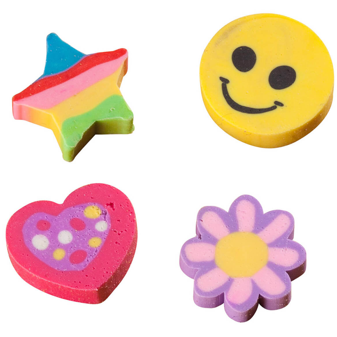 Floral & Happy Face Erasers-Pack of 36