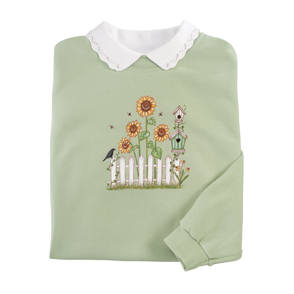 Fall Sunflowers and Fence Sweatshirt