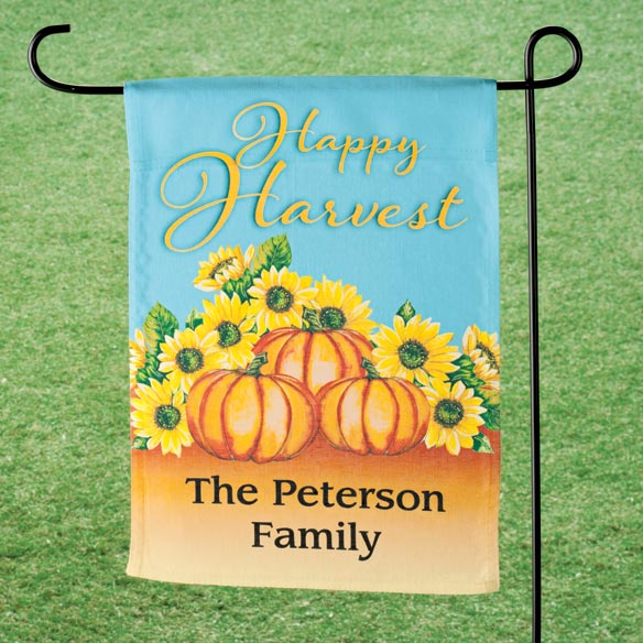 Personalized Happy Harvest Garden Flag