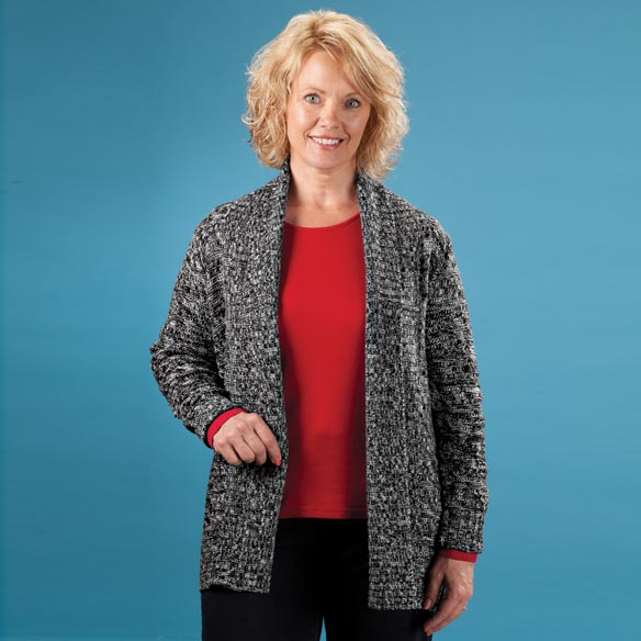 Marled Pointelle Trim Cardigan Sweater