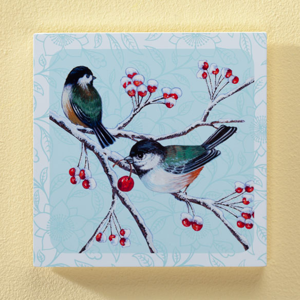 8x8 Chickadees Wood Wall Plaque