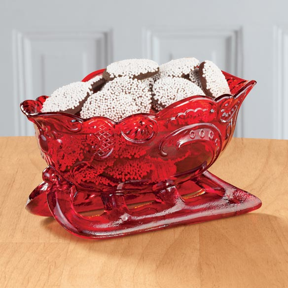 Red Glass Sleigh Candy Dish
