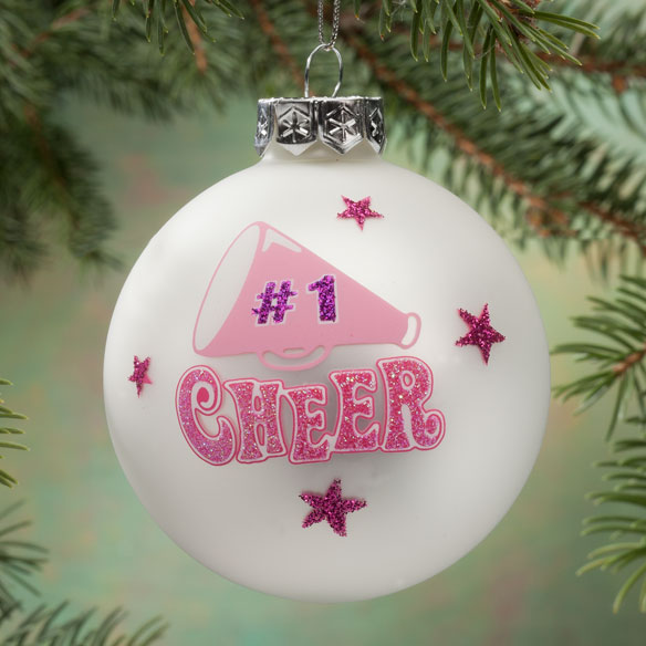 Personalized Cheer Frosted Glass Ornament
