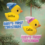 Milestones - Personalized Rubber Ducky Baby's 1st Christmas Ornament