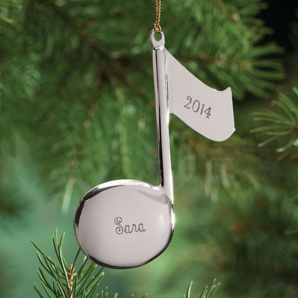 Personalized Silvertone Music Note Ornament
