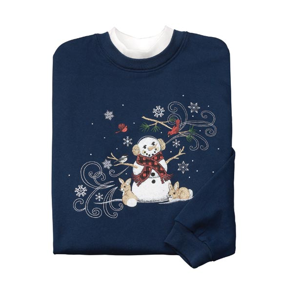 Blustery Snowman With Bunnies Sweatshirt