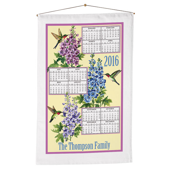 Personalized Hummingbird Trio Calendar Towel