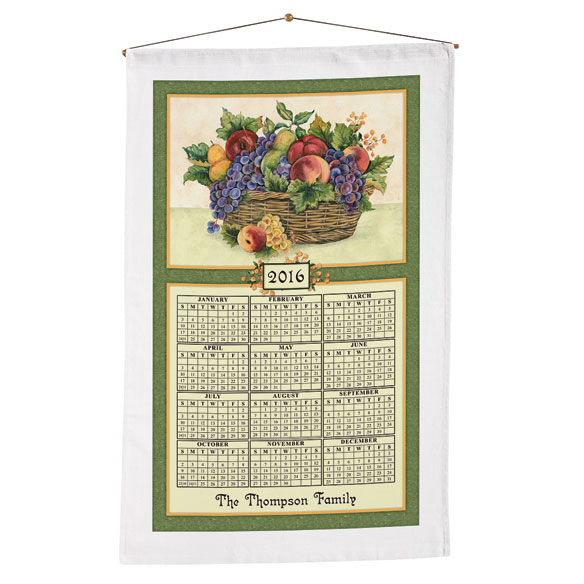 Personalized Antique Fruit Calendar Towel