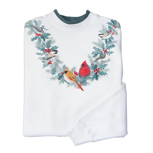 Birds and Holly Sweatshirt M-XXL