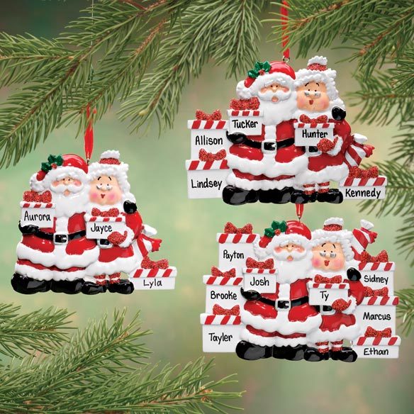 Personalized Santa And Mrs. Claus With Presents Ornament