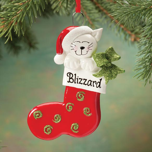 Personalized Cat In Stocking Ornament