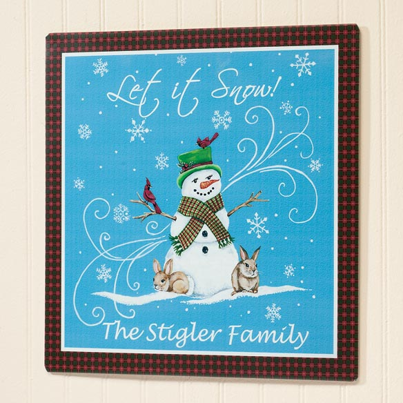 Personalized Let It Snow Metal Plaque 12x12