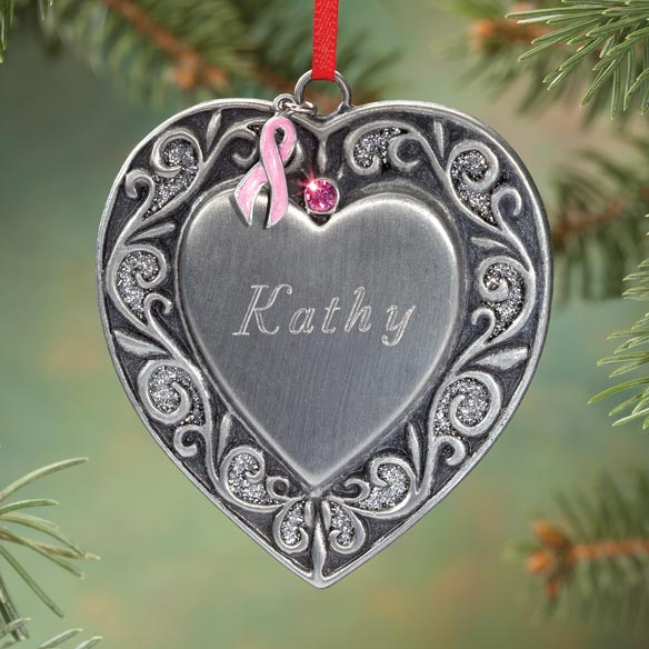 Personalized Heart with Pink Ribbon Ornament