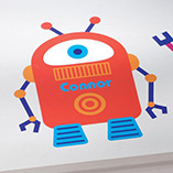 Stocking Stuffers - Personalized Orange Robot Décor Cling