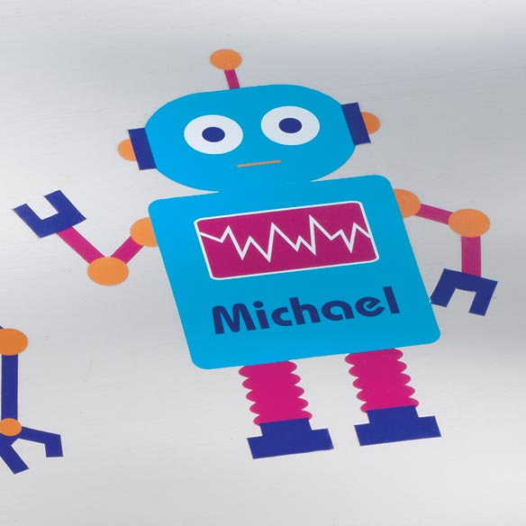 Personalized Blue Robot Décor Cling