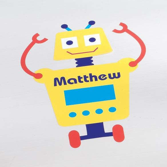 Personalized Yellow Robot Décor Cling