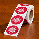 Address Labels & Seals - Red Snowflake Seal - 250
