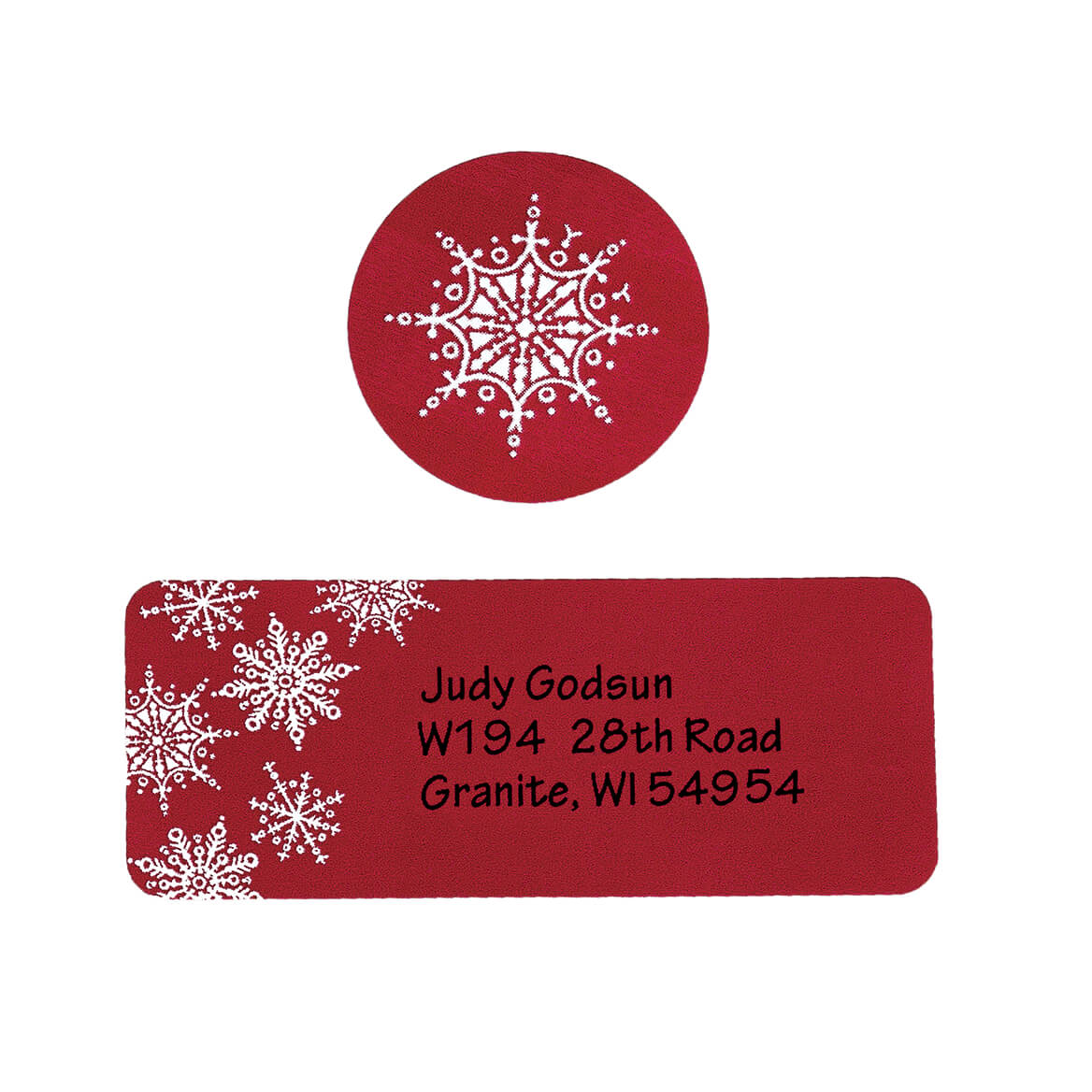 Large Print Red Snowflake Label and Seal - Sets of 250-346826