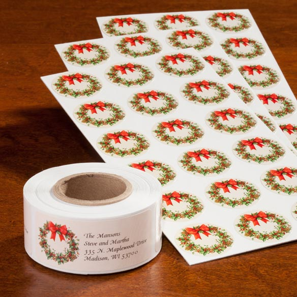Wreath Of Gold Address Labels And Envelope Seals - Set Of 250