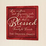Home - Personalized 12x12 Blessed Family Wood Wall Plaque