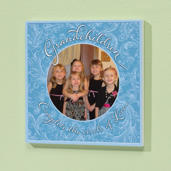 8x8 Grandchildren Circle of Love Photo Wood Wall Plaque