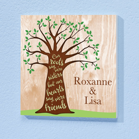 Personalized 8x8 Sisters Tree Wood Wall Plaque