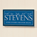 Home - Personalized 4x8 Family Story Begins Wood Wall Plaque