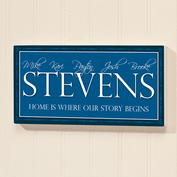 Personalized 4x8 Family Story Begins Wood Wall Plaque