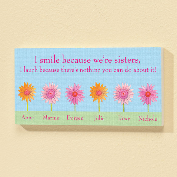 Personalized 4x8 Because We're Sisters Wood Wall Plaque