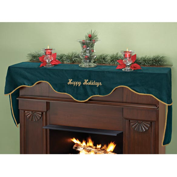 Happy Holidays Emerald Velvet Mantel Scarf