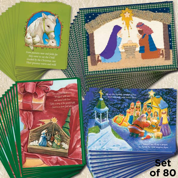 Nativity Christmas Cards Set of 80