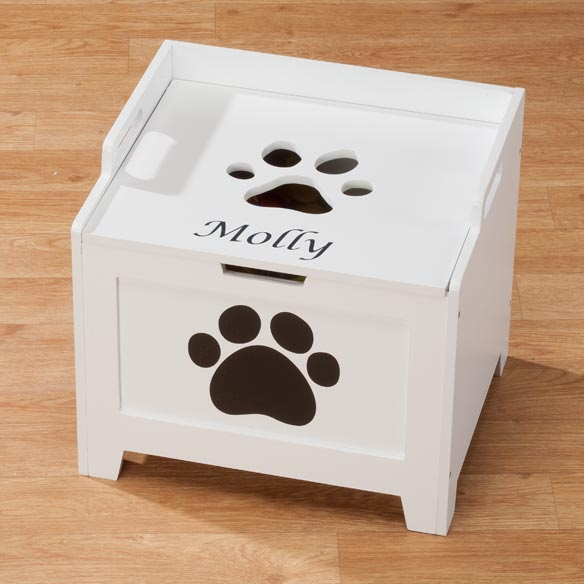 Personalized White Paw Wooden Toy Box For Dogs