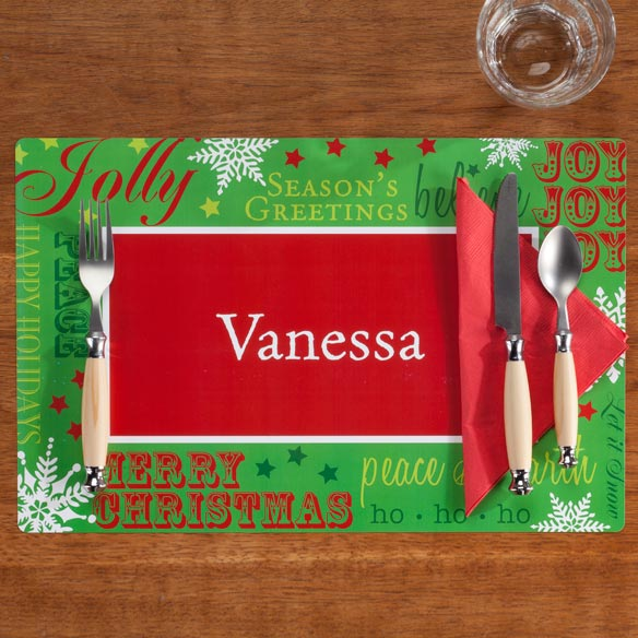 Personalized Holiday Greetings Placemat