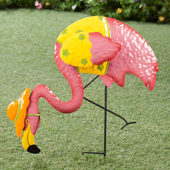 Metal Flamingo with Orange Hat