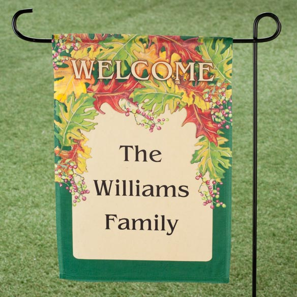 Personalized Harvest Leaves Garden Flag