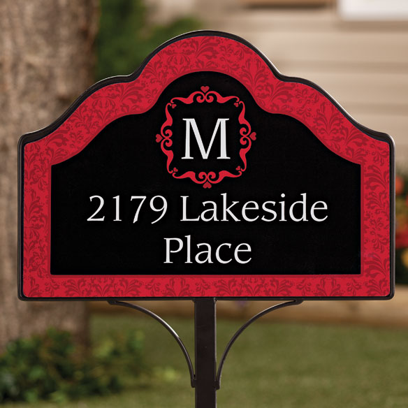 Personalized Red Damask Magnetic Sign