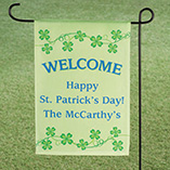 St. Patrick's Day - Personalized Shamrocks Garden Flag