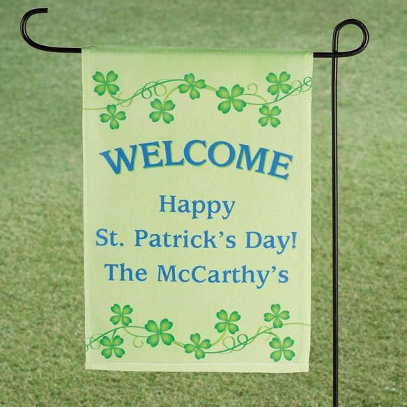 Personalized Shamrocks Garden Flag