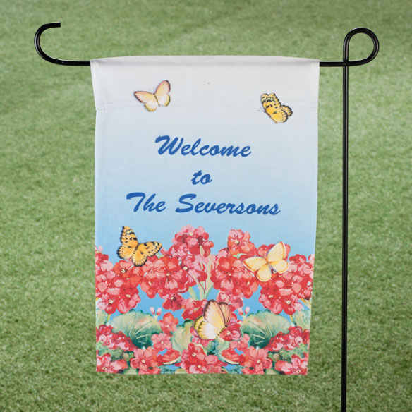 Personalized Geranium Garden Flag