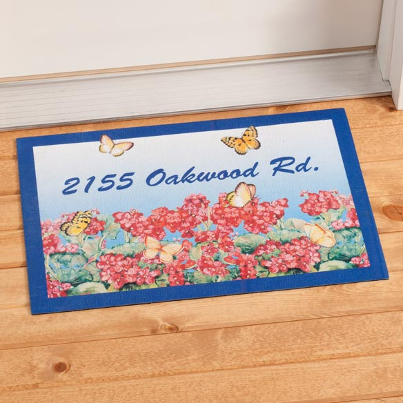 Personalized Geranium Doormat
