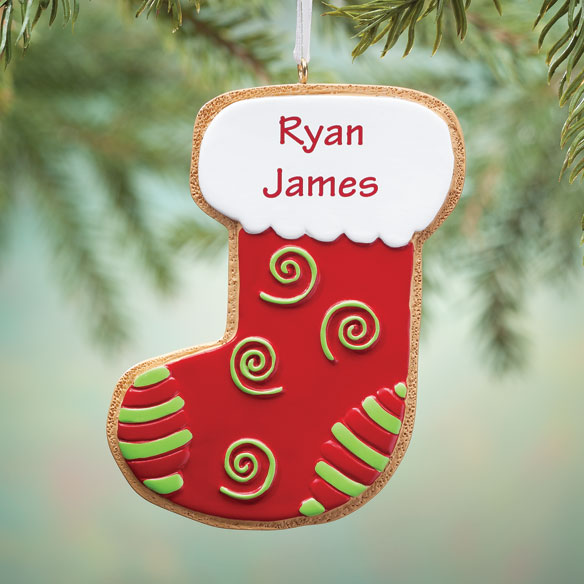 Personalized Stocking Gingerbread Cookie Ornament