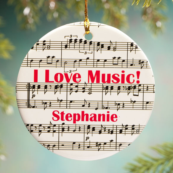 Personalized I Love Music Porcelain Ornament